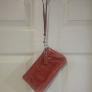 Coral Pink COACH Patent Leather Wrestler Clutch